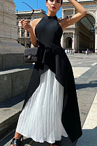 Black Casual Polyester Sleeveless Backless Ruffle Utility Blouse High Waist Long Skirt Sets ZS0312