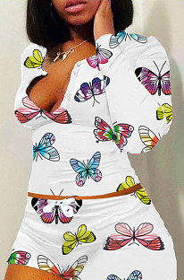 Lässige Polyester Butterfly Grafik Langarm Long Neck Longline Top Shorts Sets H1513