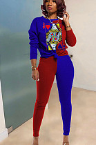 Red Blue Casual Polyester Long Sleeve Round Neck Spliced Tee Top Long Pants Sets TY1862