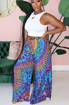 Light Blue Casual Polyester Tie Dye Mid Waist Wide Leg Pants HG055