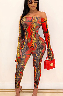 Red Sexy Polyester Langarm Bodycon Jumpsuit YSH6107