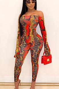 Macacão vermelho sexy de poliéster manga longa bodycon YSH6107