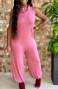 Casual Cotton Blend Pure Color Sleeveless Tee Jumpsuit T3433(No belts included)