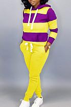 Casual Cotton Colorblock Long Sleeve Spliced Hoodie Long Pants Sets MTY6228