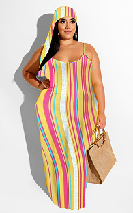 Casual Sleeveless Strappy All Over Print Long Dress (with headscarves) A8562