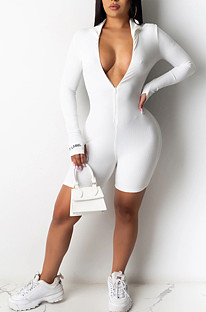 Solid Color Plunging Neck Romper Jumpsuit