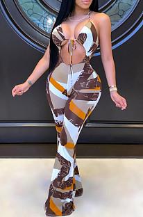 Sexy mouwloze jumpsuit met bandjes in melkvezelprint LS6359