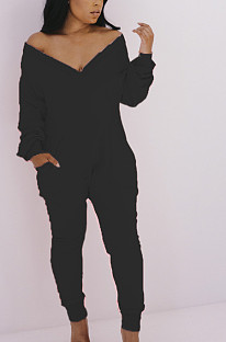 セクシーな塩素繊維純粋な色長袖Vネック傾斜ポケットボディコンジャンプスーツBLE2133