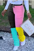 Casual sportieve lange broek met contrastband en ruches LML153