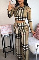 Modest Plaid Long Sleeve Round Neck Slant Pocket Crop Top Long Pants Sets ORY5057