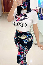 Casual Polyester Tie Dye Floral Mouth Graphic Short Sleeve Round Neck Tee Top Long Pants Sets WY6654