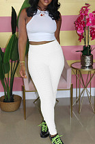 Casual polyester pure kleur hoge taille lange broek WY6687