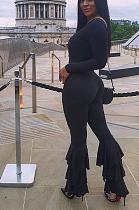 Sexy bodycon-jumpsuit met lange mouwen en diepe V-hals