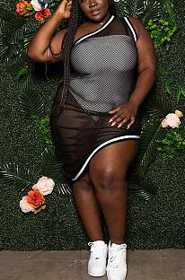 Sexy Boho Mesh One Shoulder Sleeveless Tank Skirts Sets