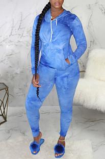 Casual Tie Dye Long Sleeve Hoodie Long Pants Sets SMR9724