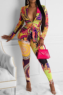 Multi Sexy Polyester Baroque Button Front Long Pants CL6040