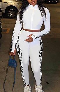 Casual Cotton Blend Pure Color Long Sleeve High Neck Zipper Front  Longline Top Long Pants Sets CM779