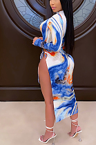 Sexy Tropical Night Out Long Sleeve High Neck Split Hem Long Dress