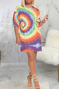 Casual Short Sleeve Round Neck All Over Print Shift Dress SMR9707