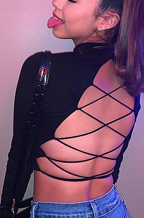 Sexy Modest Long Sleeve Backless knotted Strap High Neck Crop Top