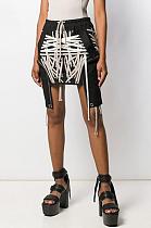 Boho Night Out Sexy Pop Art Print Mid Waist Above Knee / Short Skirt