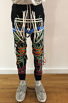 Casual Vintage Pop Art Print Mid Waist Long Pants