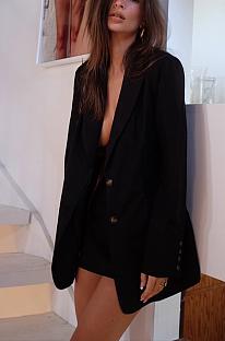 Elegante bescheidene einfache reine Farbe Langarm Knopf vorne Revers Hals Röcke Sets