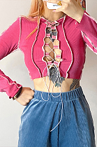 Sexy Pure Color Long Sleeve Self Belted Spliced Crop Tops