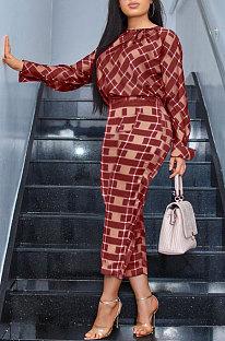 Autumn Long Sleeve Top Women's Plaid Pants Sets TK6018