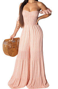 Casual Polyester Chiffon Sleeveless Off Shoulder Ruffle Romper R6201