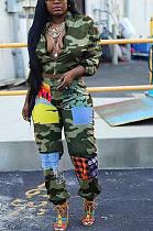 Повседневные комплекты камуфляжных брюк с воротником-стойкой и длинным рукавом