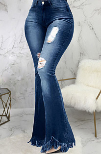 Casual Cotton Tassel Hem Distressed Flare Leg Pants  SMR2318