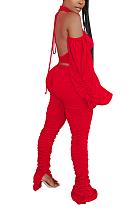 Simplee Casual Backless Ruffle Lantern Sleeve Pants Sets