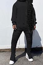 Casual Sporty Simplee Shirred Detail Hoodie Pants Sets