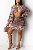 Elegant Polyester Ditsy Floral Long Sleeve Puff Sleeve All Over Print High Waist Sets CCY8684