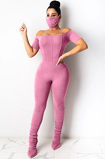 Pure Color Casual Short Sleeve Ruffle Bodycon Jumpsuit (with mask) LA3212