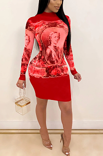 Night Out High Neck Long Sleeve Figure Graphic Dress