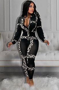 Sexy Polyester Leopard Long Sleeve V Neck KSN5065