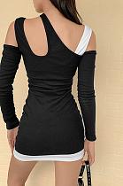 Vestido casual sexy de manga comprida com decote em V