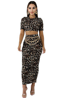 Boho Polyester Leopard Short Sleeve High Waist Long Dress KSN5053