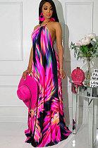 Sexy Polyester Halterneck High Waist Long Dress SN3505