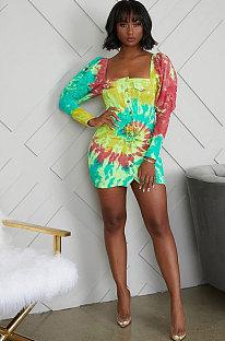 Polyester Long Sleeve Mid Waist Mini Dress KSN5060