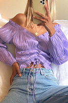 Sexy Casual Off Shoulder knotted Strap Crop Top