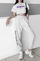 High-waisted print print casual pants fashion versatile Halon pants