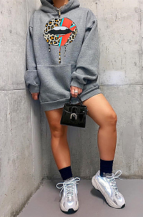 Casual Sporty Modest Mouth Graphic Long Sleeve Hoodie Mini Dress