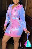 カジュアルポリエステルネクタイ染料緩い長袖フード付きスレッド作業服ポケットドレスCM777