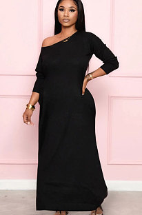 Black Autumn Oblique Shoulder Long Dress For Daily Wear YLY887