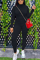 Casual Pure Color High Neck Long Sleeve Spliced Bodycon Jumpsuits