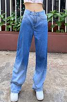 Calça jeans casual versátil de cintura alta com gradiente fino largo