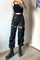 High-waist-girdle loose-fitting and slimming casual pants street style versatile overalls